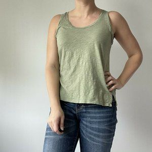 Madewell Tank Top Cotton Scoop Neck Green Basic XS